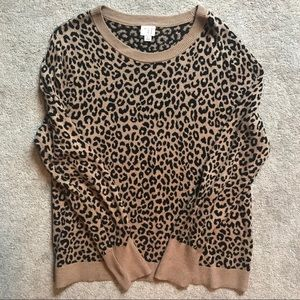 A New Day Leopard crewneck sweater large pullover